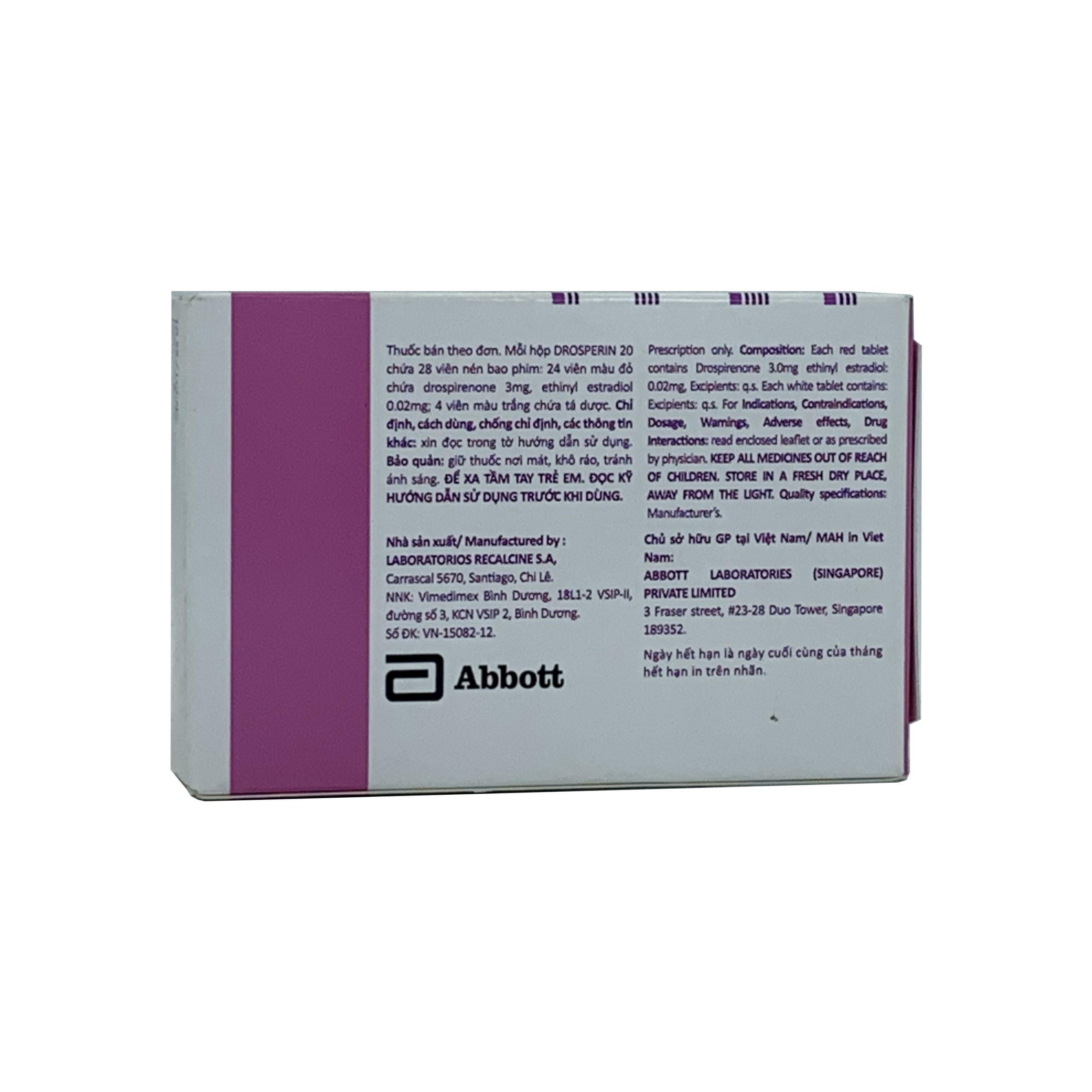 Thuốc tránh thai Drosperin 20 hồng